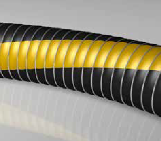 Green with yellow strip chemical hose